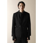 UNISEX WOVEN ONE BUTTON JACKET-Black-3
