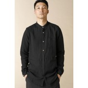 UNISEX WOVEN MAO COLLAR SHIRT  LI12 Black-Black-2