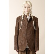 STAND NECK ONE BUTTON JACKET  Brown-Brown-1
