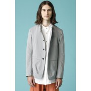 UNISEX WOVEN STAND COLLAR BUTTON DOWN JACKET - CS1-Gray-1