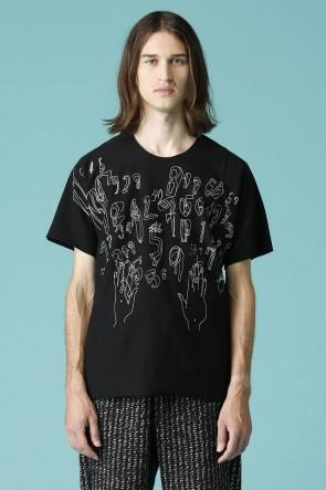 individual sentiments18SSユニセックス ウーブン プリント フラット Tシャツ