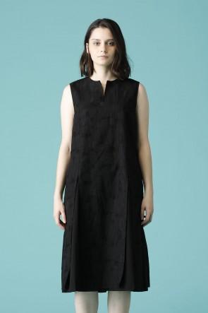 individual sentiments16-17AWウィメンズ ウーブン ノースリーブ オーバー ドレス ブラック
