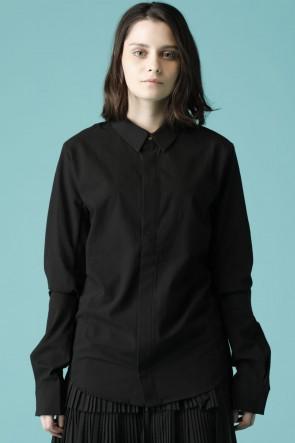 individual sentiments16-17AWユニセックス ウーブン ベーシック シャツ ブラック