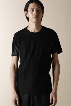 individual sentiments16SSユニセックス ウーブン ステップ ディティール Tシャツ ブラック
