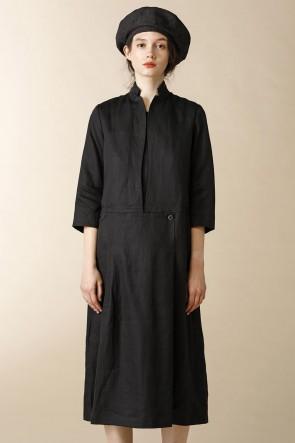 individual sentiments16-17AWウィメンズ ウーブン フロント パーツ ディタッチャブル ドレス グレーブラック