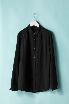 individual sentiments21SSユニセックス ウーブン マオカラーシャツ  LI12 ブラック