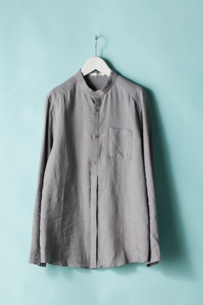 individual sentiments21SSユニセックス ウーブン マオカラーシャツ  LI12 グレー