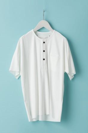 individual sentiments21SSユニセックス ウーブン ヘンリーネックTシャツ  LJ43 ホワイト