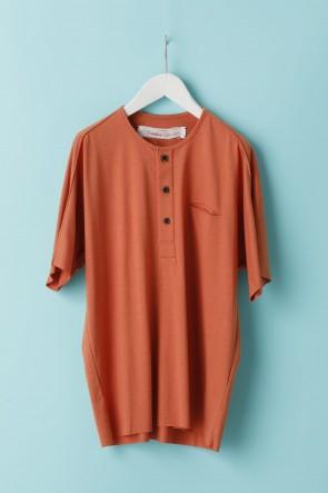 individual sentiments21SSユニセックス ウーブン ヘンリーネックTシャツ  LJ43 フィサリスオレンジ