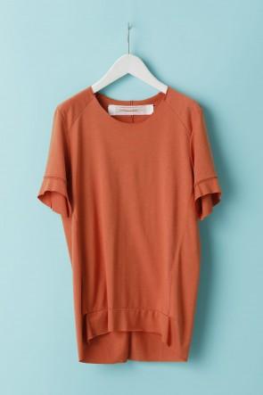 individual sentiments21SSユニセックス ウーブン タックダーツショートスリーブTシャツ - LJ43 フィサリスオレンジ