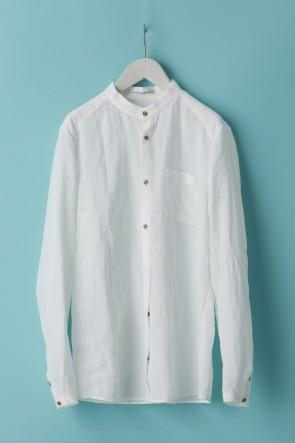 individual sentiments21SSユニセックス ウーブン マオカラーシャツ  LI12 ホワイト