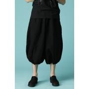 UNISEX WOVEN BALLOON PANTS BLACK-Black-2