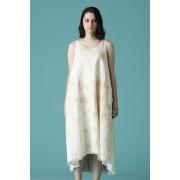 WOMEN'S WOVEN NO SLEEVE DRESS-Ecru White-0