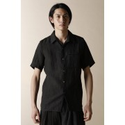 UNISEX WOVEN ONE POCKET SHORT SLEEVE SHIRTS-Black-1