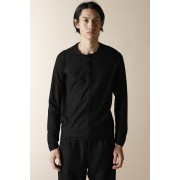 UNISEX WOVEN HENRY NECK LONG SLEEVE T-SHIRT-Black-0