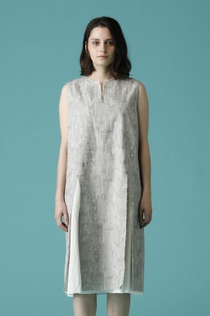 individual sentiments 16-17AW WOMEN'S WOVEN NO SLEEVE OVER DRESS SNOW GRAY