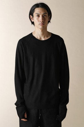 individual sentiments 17-18AW UNISEX WOVEN  STEP DETEIL LONG SLEEVE T-SHIRTS BLACK