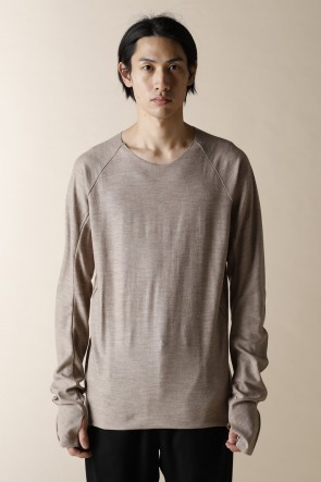 individual sentiments 17-18AW UNISEX WOVEN  STEP DETEIL LONG SLEEVE T-SHIRTS BEIGE