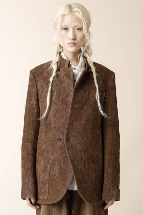 individual sentiments21-22AWSTAND NECK ONE BUTTON JACKET  Brown