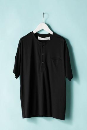 individual sentiments21SSUNISEX WOVEN HENRY NECK T-SHIRT LJ43 Black