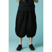 UNISEX WOVEN BALLOON PANTS BLACK-Black-2