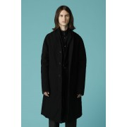 UNISEX WOVEN LAYERED COAT-Black-2