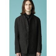 UNISEX WOVEN STAND COLLAR BASIC BUTTON DOWN JACKET-Black-3