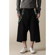 UNISEX WOVEN LOW CLOTCH CROPPED PANTS-Black-3