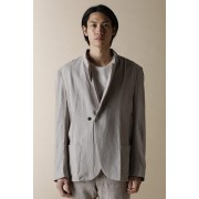 UNISEX BASIC STAND COLLAR ONE BUTTON JACKET-Fade Gray Purple-4