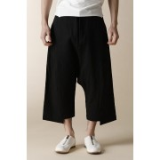 UNISEX WOVEN LOW CLOTCH CROPPED PANTS-Black-3