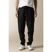 UNISEX WOVEN SOLID SEAM EASY PANTS-Black-2