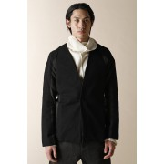 UNISEX WOVEN NO COLLAR JACKET-Black--0