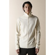 UNISEX WOVEN HIGH NECK LONG SLEEVE T-SHIRTS-Ecru White-1