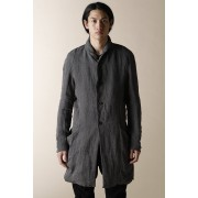 UNISEX WOVEN SHAWL COLLAR  COAT-Gray Black-1