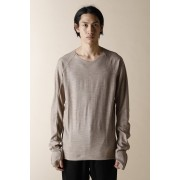 UNISEX WOVEN  STEP DETEIL LONG SLEEVE T-SHIRTS BEIGE-Beige-2