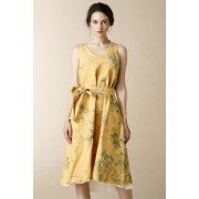 WOMEN'S WOVEN LAYERED NO SLEEVE DRESS - LI18-Mottled Orange-0