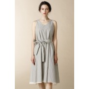 WOMEN'S WOVEN LAYERED NO SLEEVE DRESS - LC18-Ecru-0