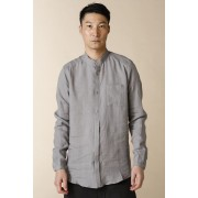 UNISEX WOVEN MAO COLLAR SHIRT  LI12 Gray-Gray-2