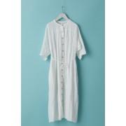 WOMEN'S WOVEN GATHER DRESS - LI12R-White-FREE