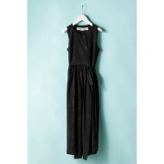 WOMEN'S WOVEN WRAPPING DRESS  CU2W-Black-0