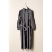 WOMEN'S LONG PLEATS SHIRTS DRESS-Brown Purple-0