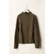 NARROW NECK LONG SLEEVE T-SHIRTS-Khaki Brown-0