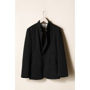 STAND NECK ONE BUTTON JACKET-Black-3