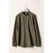 MAO COLLAR SHIRTS-Brown-2