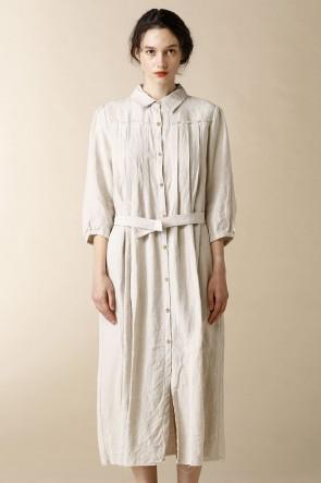 individual sentiments17SSWOMEN'S WOVEN LONG SHIRTS DRESS Natural