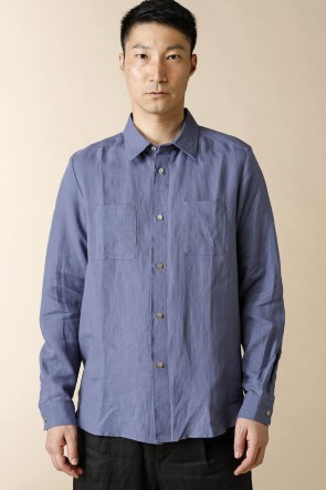 individual sentiments20SSUNISEX WOVEN THIN LINEN CLOTH SHIRTS Fade Navy