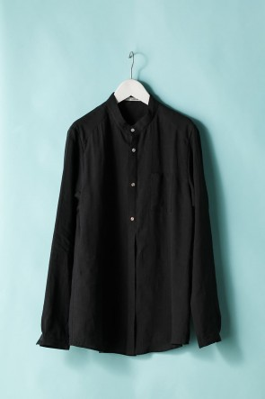 individual sentiments 21SS UNISEX WOVEN MAO COLLAR SHIRT  LI12 Black
